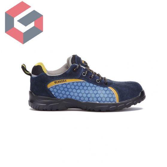 Zapato rubidio azul rejilla Paredes piel serraje 1ª calidad.